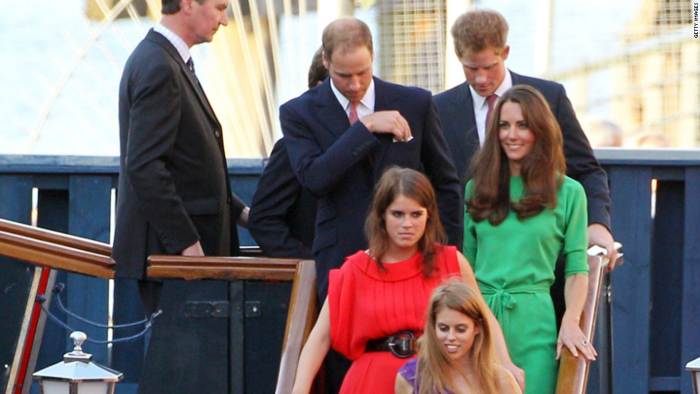 Royals including the Duke and Duchess of Cambridge, Prince Harry, Princess Beatrice and Princess Eugenie were among the guests at a pre wedding party hosted by Zara Phillips and Mike Tindall on the Britannia in July 2011 in Edinburgh.
