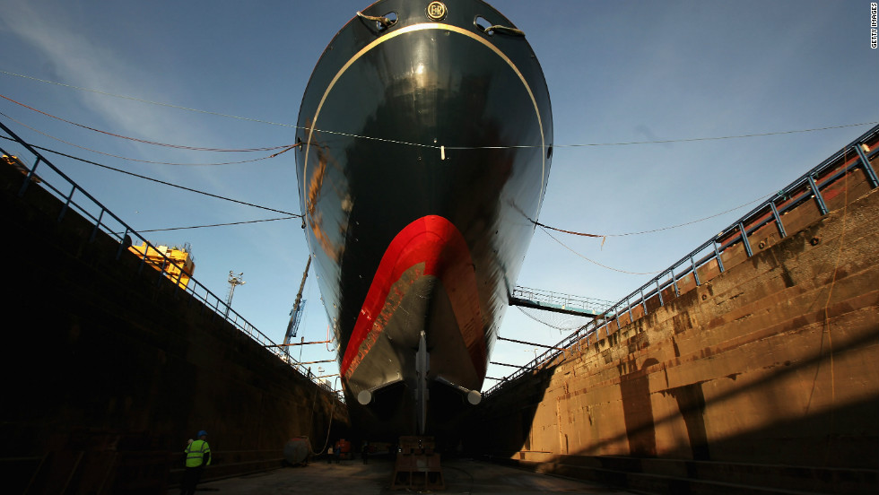 Workmen are currently carrying out painting and repairs on the Royal Yacht Britannia in a dry dock at Forth Ports in Edinburgh.