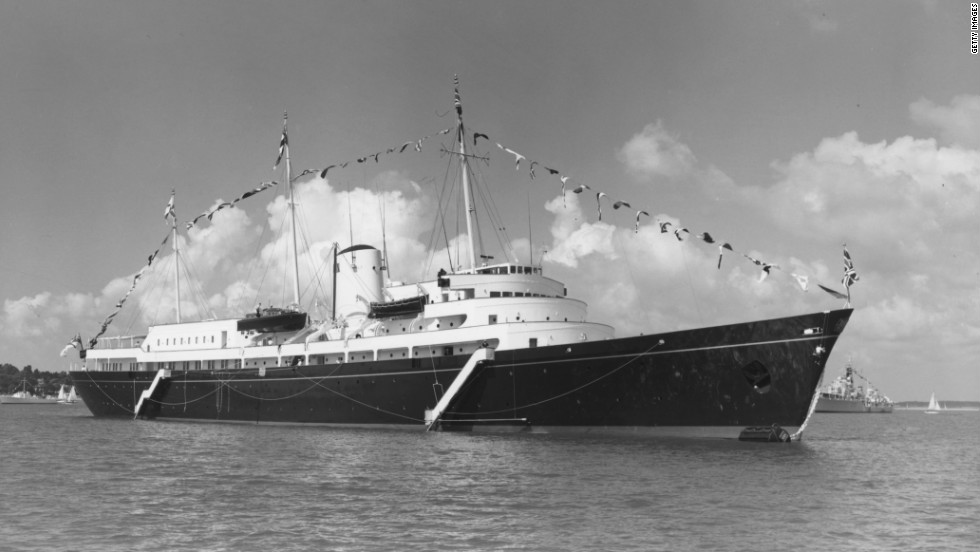 The Royal Yacht Britannia, seen here in 1960, was launched by Queen Elizabeth II on 16 April 1953.