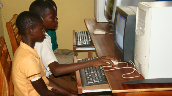 """The kids the first time are scared to touch the keyboard and the mouse, so you see a kid sit there like this and just look at the screen,"" says Owusu.  ""But you go there the next year when we do a follow-up visit and they want to grab me and show me what they can do with the computer."""