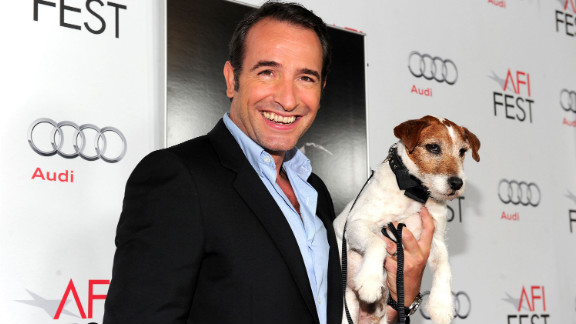 Actor Jean Dujardin and Uggie at the 2012 Golden Globes.