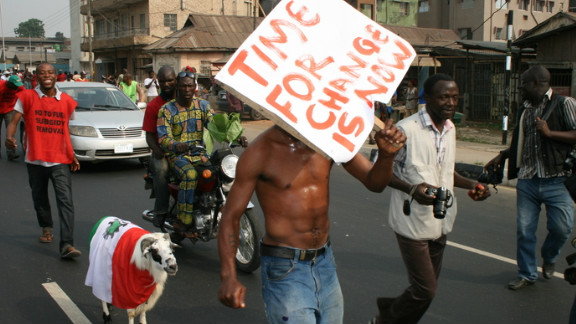 It has been a year since this Nigerian protester called for change.