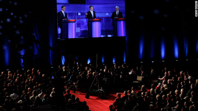 Republican candidates face a raucous audience at Monday's presidential debate in Myrtle Beach, South Carolina.