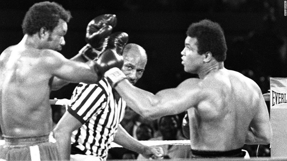 "In 1974, Ali took part in one of the most famous world championship fights in the history of boxing. He took on reigning champion George Foreman in Zaire, in a fight which was dubbed the ""Rumble in the Jungle."" Ali emerged victorious after flooring Foreman in the eighth round."