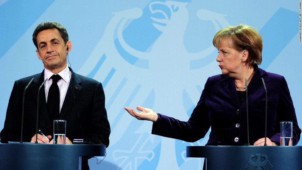 French President Nicolas Sarkozy and German Chancellor Angela Merkel face the press following 2012's first high-level talks on the eurozone crisis.