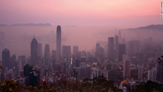 A blanket of haze hangs over the Hong Kong skyline early on April 3, 2011.