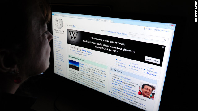 Wikipedia is among the websites that has shut down Wednesday in protest of the Stop Online Piracy Act, or SOPA.