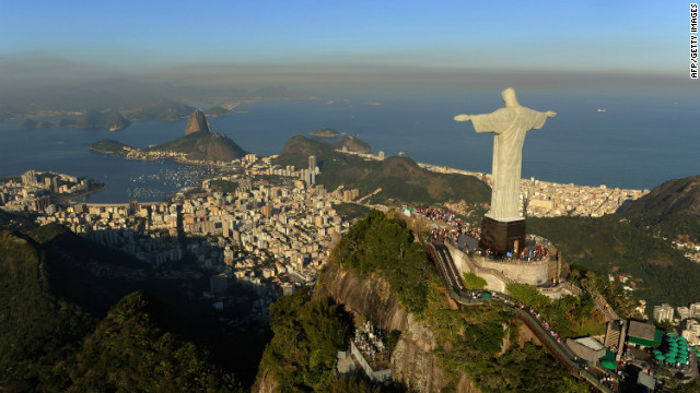 An aerial view of the 'Christ the Redeemer' statue over  Rio de Janeiro, Brazil.