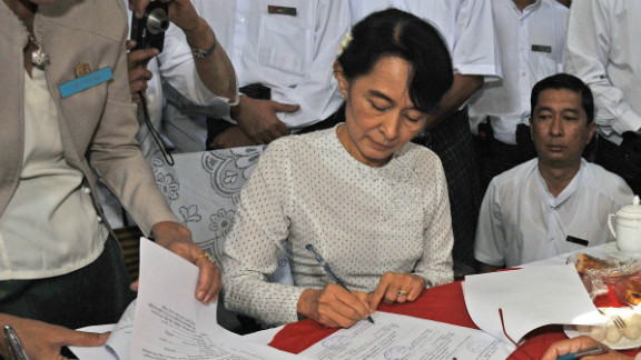 Aung San Suu Kyi registers to run as a candidate in upcoming by-elections on the outskirts of Yangon on January 18, 2012.