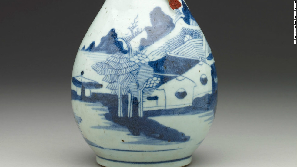 Water bottle made of Chinese porcelain containing Zamzam water, holy water from a well in Mecca, dating from the 19th century.