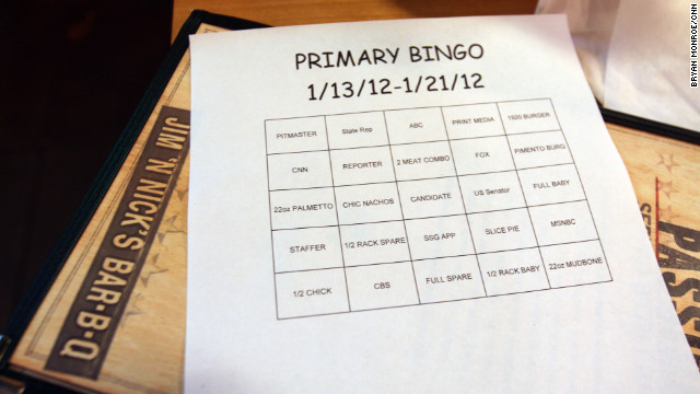 "Servers at the restaurant play ""Primary Bingo,"" which includes references to candidates, networks and menu items."