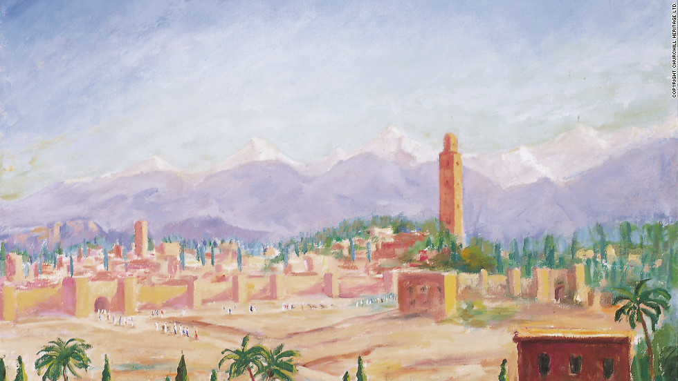 Churchill loved to paint the Moroccan city of Marrakech. He painted his only picture during the war years on a visit there in 1943 -- a view of the city from a tower.