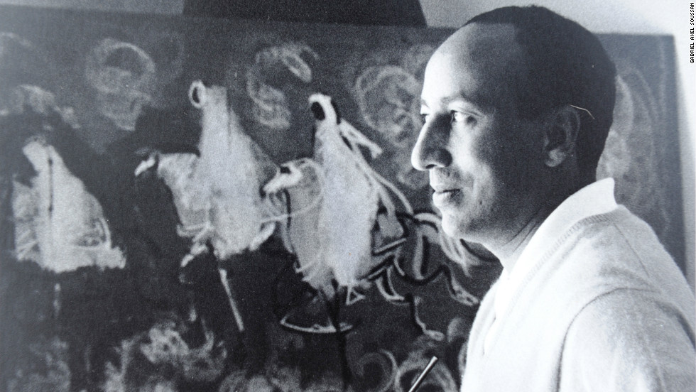 Hassan El Glaoui, seen here in his studio in Anfa, Casablanca, in 1969, was never able to meet Churchill to thank him for his help in establishing his career as an artist.