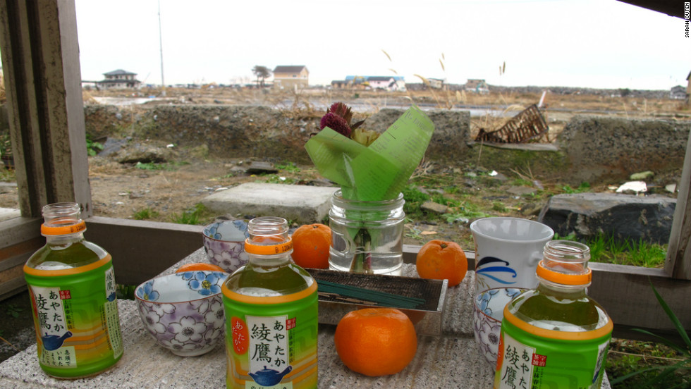 In Japan, people use this kind of breeze block altar with offerings to the dead