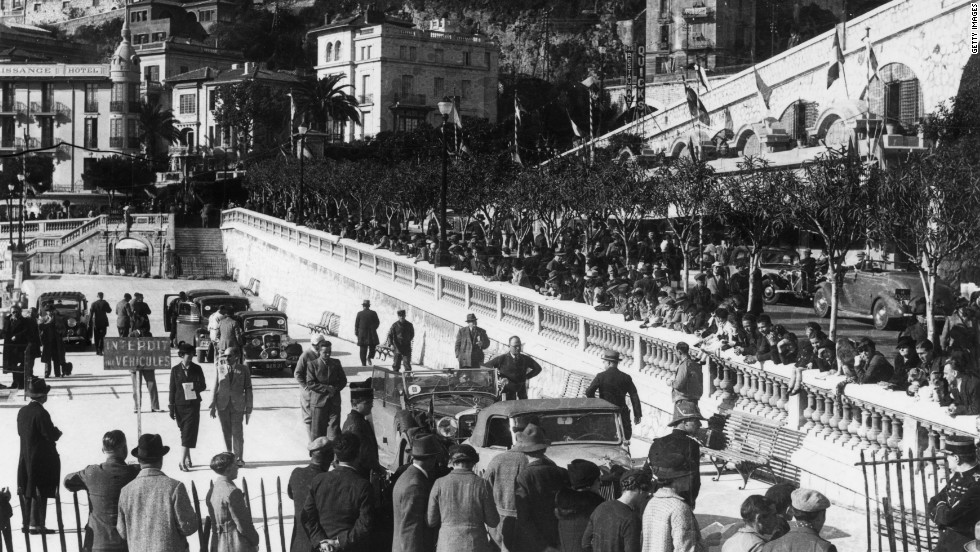 Competitors gather at the control center ahead of the 1937 Monte Carlo Rally. The race has existed in one form or another since 1911.