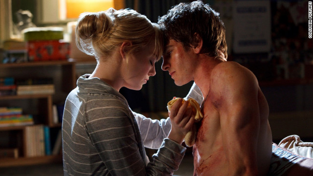 "Emma Stone, left, and Andrew Garfield star in ""The Amazing Spider-Man"" as Gwen Stacy and Peter Parker, respectively."