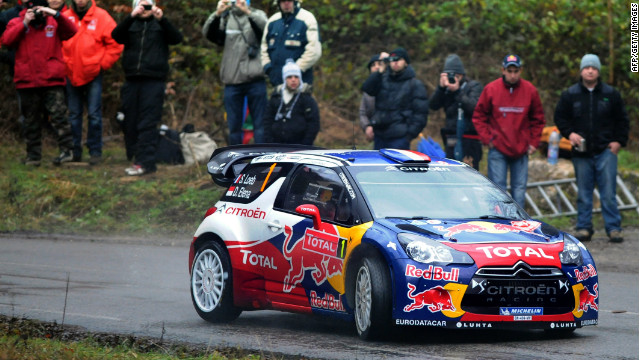 Sebastien Loeb powers his Citroen through stage 11 of the Monte Carlo Rally.