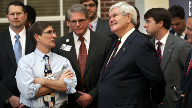 GOP presidential candidate Newt Gingrich tours the University of South Carolina Children's Hospital on Friday in Charleston.