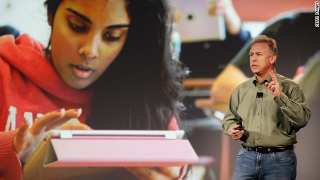 Philip Schiller, a senior VP at Apple, speaks about Apple's plan to reinvent textbooks on January 19 in New York.