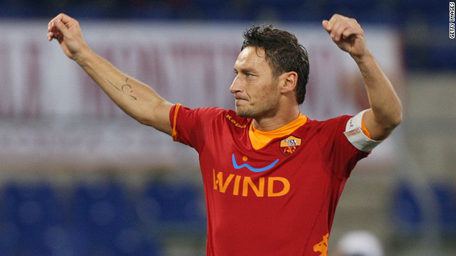 Francesco Totti has now scored 211 goals for Roma in a career spanning two decades