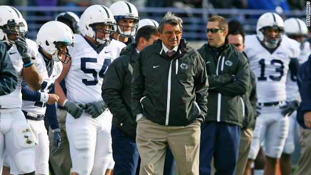 Penn State coach Joe Paterno, shown during a game in October 2011.