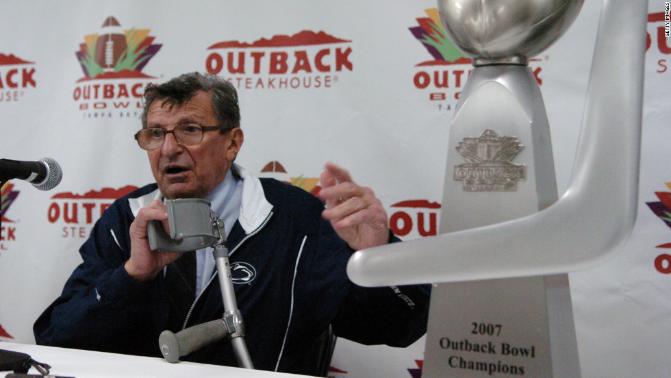 Paterno speaks at a post-game press conference after winning the Outback Bowl on January 1, 2007, in Tampa, Florida.
