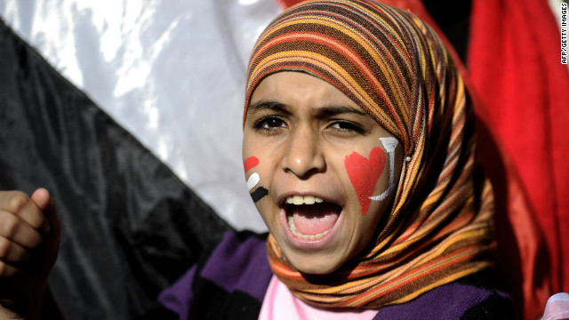 A girl shouts in Cairo's Tahrir Square in December 2011 as people gathered for a mass rally against the ruling military.