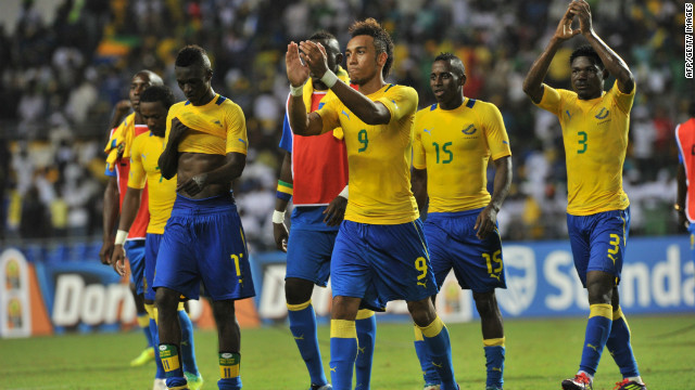 Gabon players, led by opening scorer Pierre-Emerick Aubameyang (No.9), celebrate their 2-0 victory over Niger.