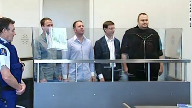 This TV grab shows internet guru and Megaupload founder Kim Schmitz, far right, at an Auckland, New Zealand, court Friday.