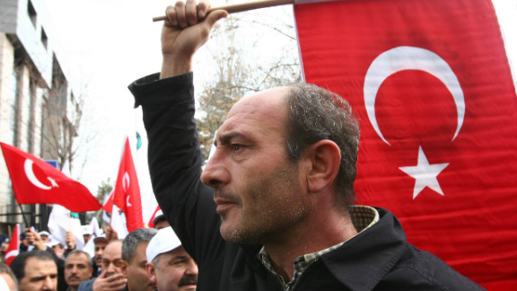 Protesters demonstrate over the Armenia issue outside the French embassy in Ankara in December 2011.
