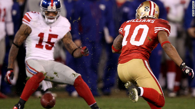 Kyle Williams fumbles during the NFC championship Sunday. Two Giants say they targeted him because he's had concussions.