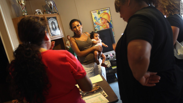 Mexican immigrant Jeanette Vizguerra, center with infant, talks about immigrant rights in Colorado last summer..