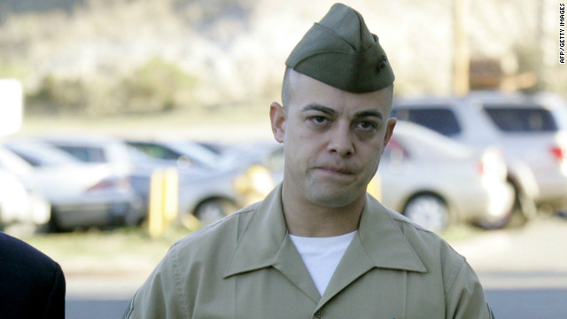 Staff Sgt. Frank Wuterich walks into court at Camp Pendleton on January, 9, 2012 in Oceanside, California.
