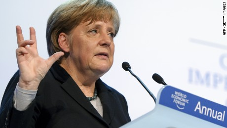 German Chancellor Angela Merkel addresses the World Economic Forum in Davos