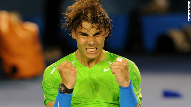 Rafael Nadal celebrates after beating Roger Federer in the semifinals of the Australian Open.