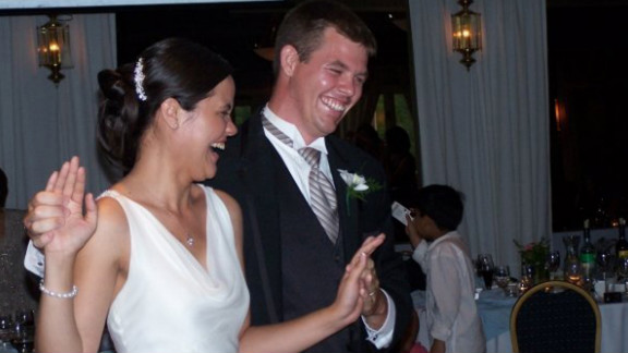 """After nine years of dating, Kimberly Griffiths and Richard Cicciarelli chose """"At Last"""" for their first dance as husband and wife."""