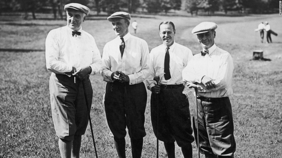 President Warren Harding, left, gets ready to golf on the Piping Rock Golf Links on Long Island, New York, in 1921. He's with Howard Whitney, second from left, president of the U.S. Golf Association; financier Percy Pyne; and industrialist J. Leonard Replogle.