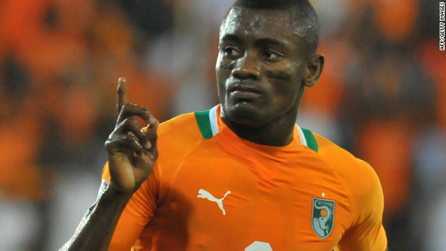 Salomon Kalou celebrates his goal for Ivory Coast against Burkina Faso in the Africa Cup of Nations.