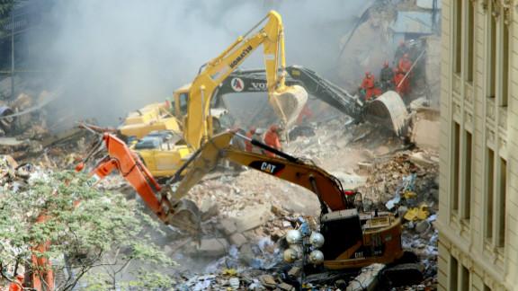 Three buildings collapsed in Rio de Janeiro, Brazil, on Wednesday.