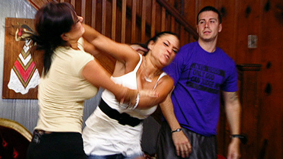 """Sammi Giancola and Jenni Farley fight during the third season of """"Jersey Shore."""""""