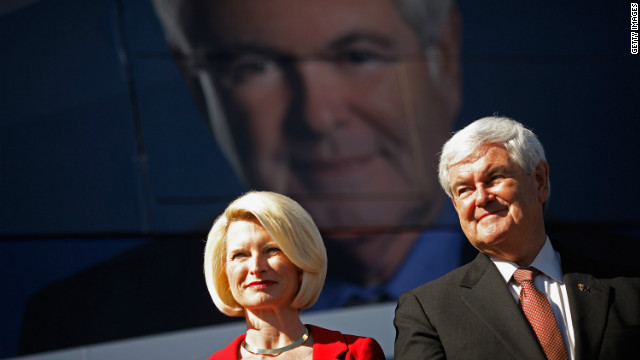 Newt Gingrich and his wife Callista Gingrich hold a campaign rally at The Villages,  a retirement community, January 29, 2012 in Sumter County, Florida.