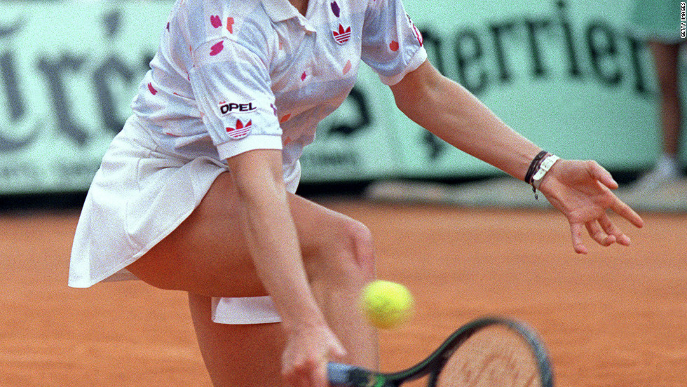 Germany's Steffi Graf began her ascent to the top of women's tennis with a breakthrough win at the 1987 French Open. Graf, aged 17, faced Czech world No. 1 Martina Navratilova in the final, winning  6-4 4-6 8-6 to clinch the first of a 22 grand slam singles titles -- which left her behind only Margaret Court in the alltime standings.