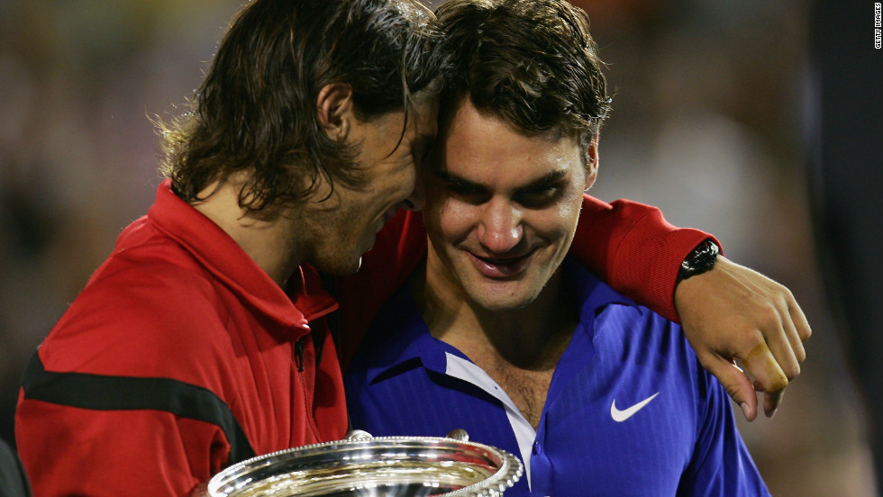 For the majority of the last decade, Nadal and Federer have dominated men's tennis -- winning 26 grand slam titles between them. Six months on from their Wimbledon clash, they met again in the 2009  Australia Open final. Federer was looking for a fourth Melbourne title, but instead it was Nadal who claimed his first win at the tournament in another five-set classic. Federer was reduced to tears at the end of the energy-sapping match.