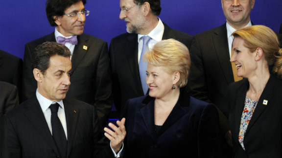 Lithuanian President Dalia Grybauskaitė and Denmark's Prime Minister Helle Thorning-Schmidt talk with France's former President Sarkozy at a European Union summit on January 30, 2012 in Brussels. There are several female presidents and prime ministers in Europe.