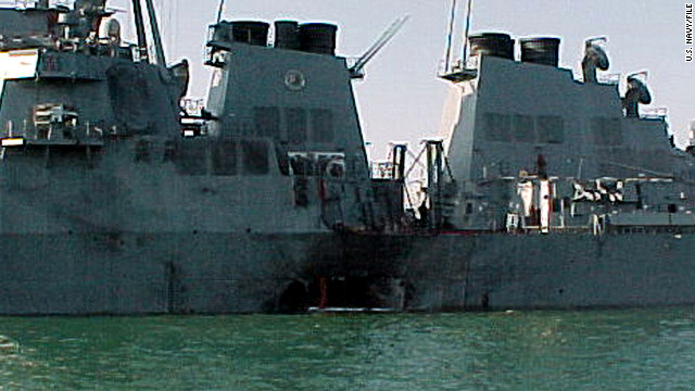 The USS Cole sits off the coast of Yemen after a terrorist attack blew a hole in its side. Seventeen US sailors died in the 2000 attack.