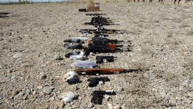 The ATF believes these guns seized in Ciudad Juarez, Mexico, were purchased in the United States.