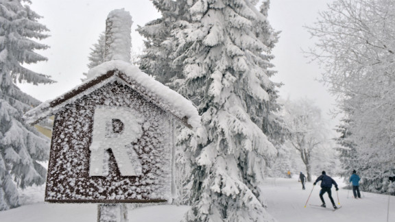 Skiers make their way through the snow near Oberhof, Germany, on January 25.