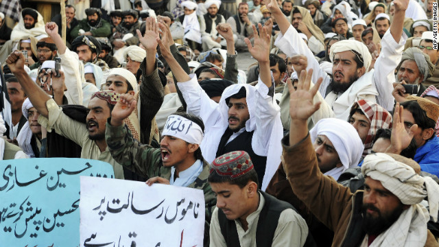 Supporters of a hard-line pro-Taliban party chant slogans during a rally in Quetta, Pakistan, on January 13, 2011.