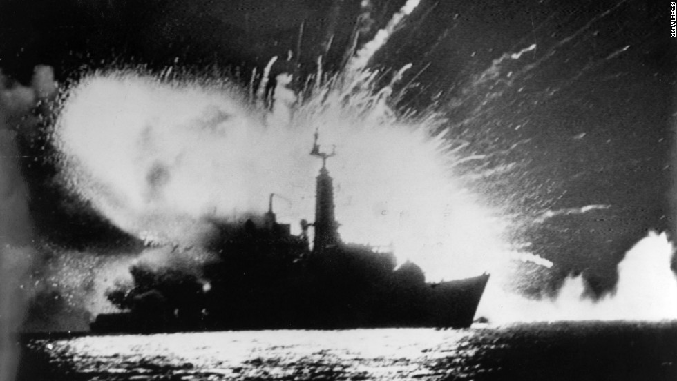 British Royal Navy frigate HMS Antelope explodes in the bay of San Carlos off East Falkland during the 1982 Falklands conflict.