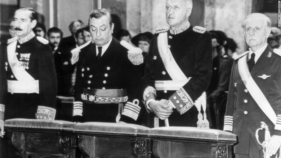 Pictured in 1980, leaders of Argentina (left to right): President General Jorge Rafael Videl, Admiral Armando Lambruschini , General Leopoldo Galtieri and Brig Gen O Domingo Graffigna.